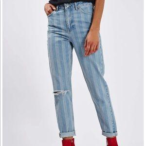 Topshop Striped Denim Jeans